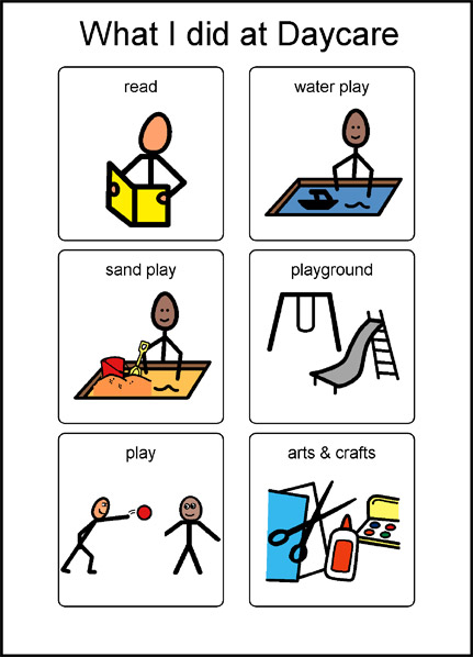What I did at daycare symbols: read, water play, sand play, playground, play, arts and crafts