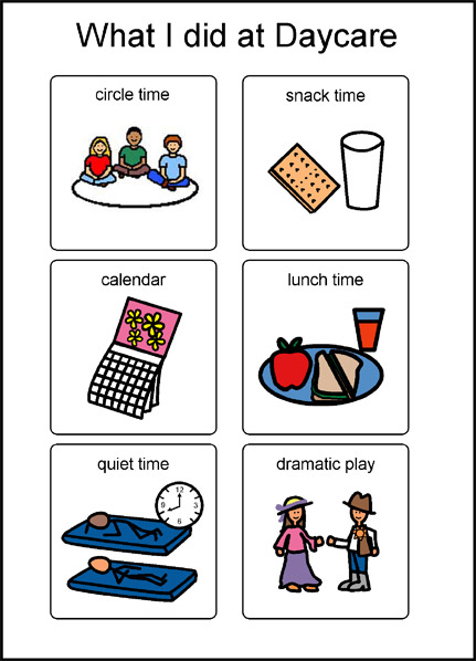 What I did at daycare symbols: circle time, snack time, calendar, lunch time, quiet time, dramatic play