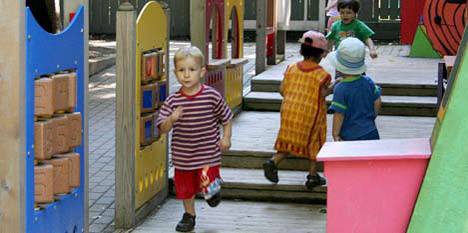 photo of children running in playground