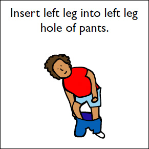 step 4 insert left leg into right leg hole of pants